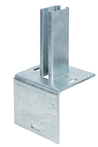 GAH-Alberts 686093 Pfostenträger für Zaunpfosten auf L-Randsteinen | zum Aufschrauben | feuerverzinkt | Platte 120 x 120mm | für Pfosten 60 x 40 mm