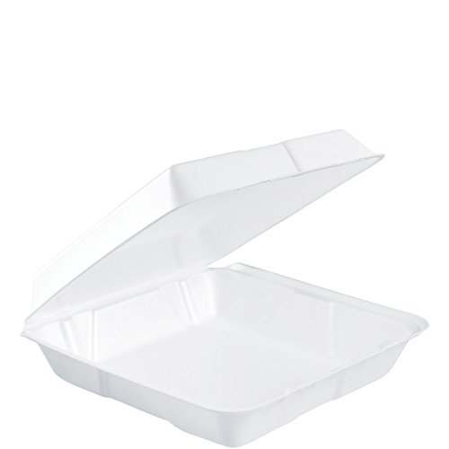 Dart 95HT1R Lg Foam Hinged Container, 9.5 in (Case of 200)