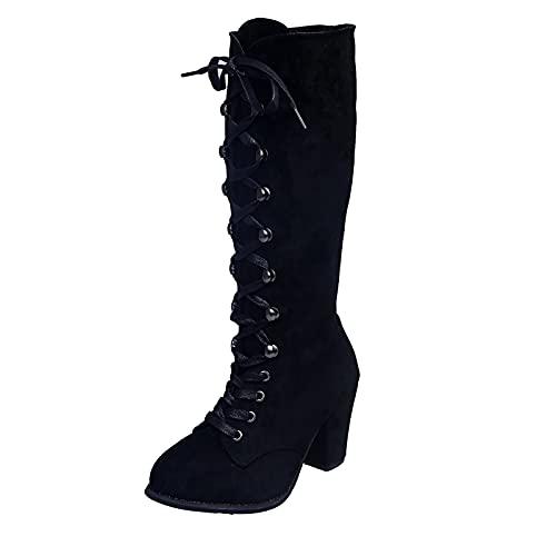 Bottines à Lacets Femme Boots Femmes Talons Rétro...