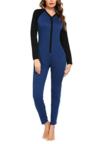 Hotouch Women's Lightweight Union Suit Thermal Underwear Long John Set Fleece Lined Base Layer One Piece Top and Bottom,Navy Blue,XL