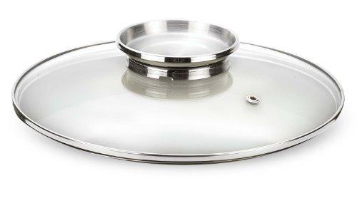 Pensofal Dosaroma Tapa de Cristal Inoxidable con 24 Cm, Vidrio, Acero Transparente