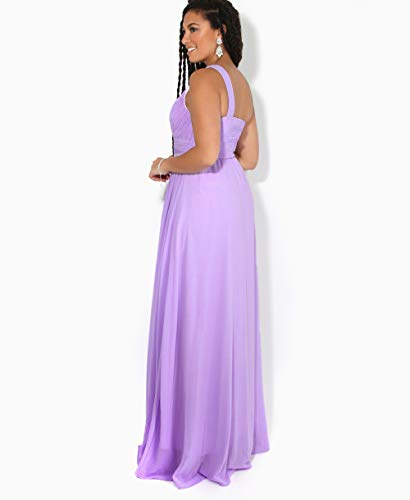 KRISP Vestido Mujer Fiesta Largo Talla Grande Hombro Descubierto Invitada Boda Dama, Lila (4814), 46 EU (18 UK), 4814-LIL-18