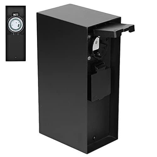 ML-Design Toma de Corriente Exterior de Jardín de Piedra con 2 Cajas de Enchufe Torre Distribuidor Energía Múltiple 3600W Negro con Pestillos Plegables y Cierre Magnético IP54 Resistente a Salpicadura