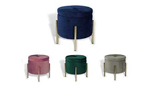 Avior Home Sitzhocker Schminkhocker aus Samt Sitzwürfel Aufbewahrungsfußhocker mit Metallbeine Rund (Blau)