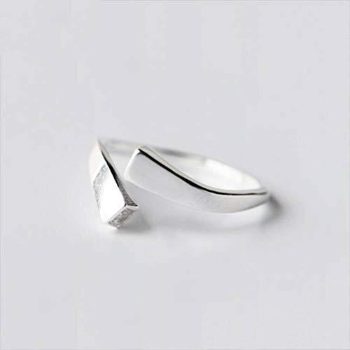 WOZUIMEI S925 Anillo de Plata Micro Incrustaciones de Diamantes Cuadrados Anillo Abierto Personalidad Anillo Femenino Joyería de Plata Letras Joyería de PlataAnillo ajustable