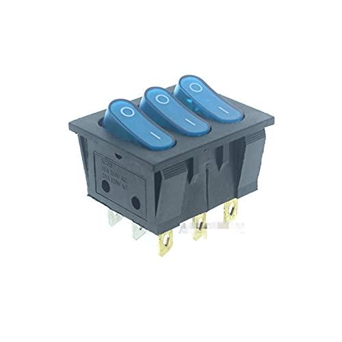 Jgzwlkj Interruptores basculantes 9pins 3buttons On-Off Function Lámpara iluminada 12V Interruptor de rockero de luz 20A 125VAC (Color : Blue)