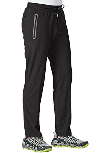 TBMPOY Men's Outdoor Lightweight Hiking Mountain Pants Running Active Jogger Pants(Black,us L)