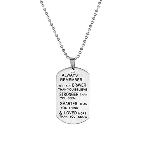 Gather together N010650 Stainless Steel Chain Necklaces Mens Dog Tags Army Pendant Necklace Fashion Custom Always Loved Keychain Best Friend Jewelry