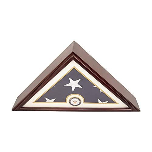 DECOMIL - Kleine Schatulle mit marineblauer Flagge, 12,7 x 22,9 cm, für Beerdigungen, Veteranen-Flagge, elegante Vitrine mit flachem Boden, Massivholz, Kirsch-Finish