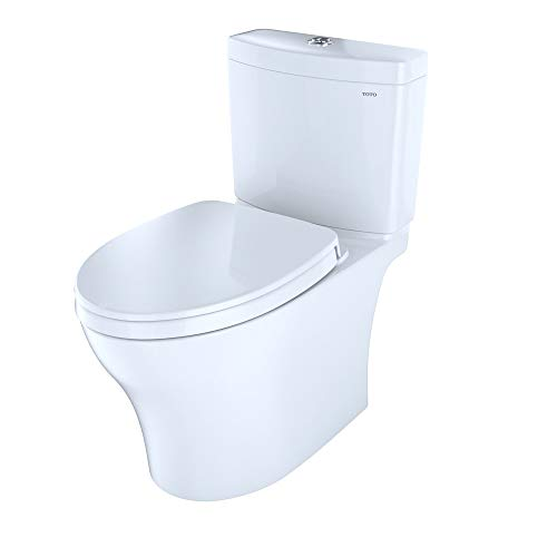 TOTO CST446CEMG#01 Aquia IV Two-Piece Elongated Toilet with 1.28 GPF & 0.8 GPF Dual Flush, Cotton White