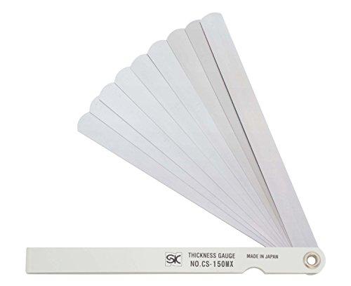 新潟精機 SK シクネスゲージ(すきまゲージ) カラースリーブタイプ 白 13枚組 150mm CS-150MX 0.03-3.00mm