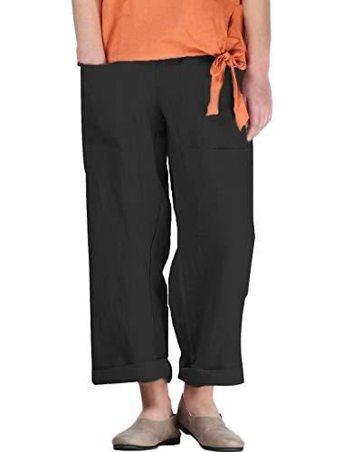 Mallimoda Damen Beiläufige Leinen Gestreift Hosen Casual Haremshose Lange Hose (M, Art 1-Einfarbig Schwarz)