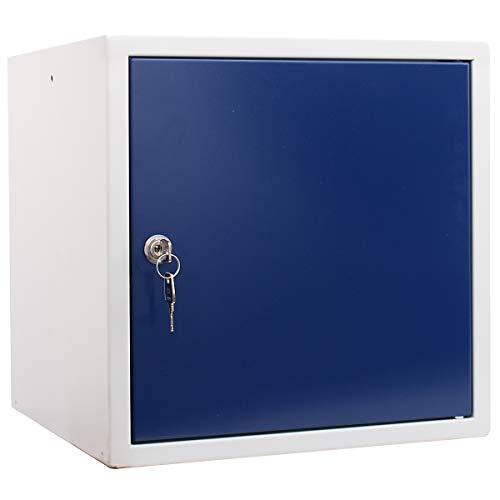 newpo Schließfachwürfel | HxBxT 35 x 35 x 35 cm | Blau | Garderobe Schließfach Schließfachschrank Schließwürfel Spind Umkleideschrank Wertsachenschrank