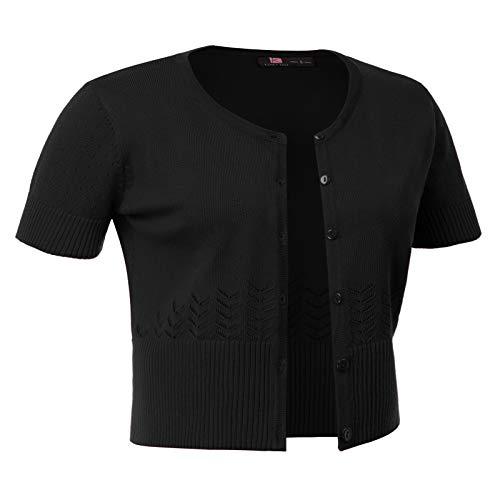 KANCY KOLE Womens Button Down Short Sleeve Cropped Bolero Cardigan Sweater (M,Black)