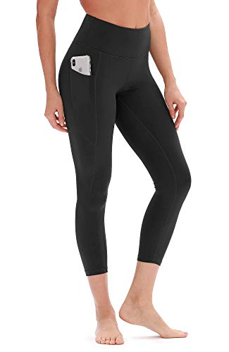 icyzone Yoga Pants for Women - High Waisted Workout Leggings with Pockets, Athletic Capris Exercise Tights (M, Black)