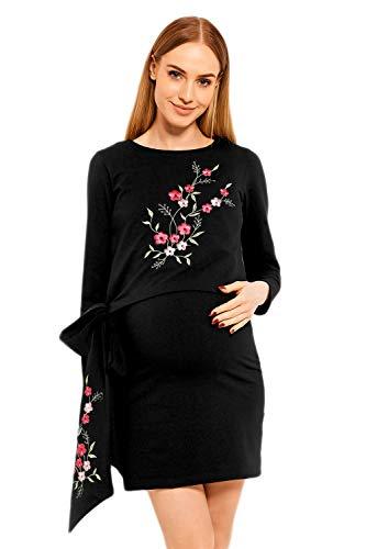 Selente Mummy Love 1624c festliches Umstandskleid (Made in EU) Schwangerschaftskleid, mit Stickerei Langarm Schwarz, Gr. XXL
