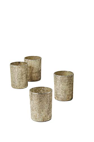 Serene Spaces Living Set of 4 Textured Pale Old Gold Glitter Votive Candle Holders, Ideal for Weddings Parties Fall Table Decorations , 4' Tall and 3' Diameter