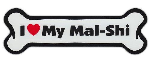 Dog Bone Shaped Car Magnets: I LOVE MY MAL-SHI (MALTESE SHIH TZU)