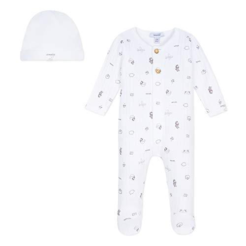 Absorba 9n99021 Set of Accessories, Gorro de Punto para Bebés, Blanco (White 01), 2 (Talla del Fabricante: 12M)