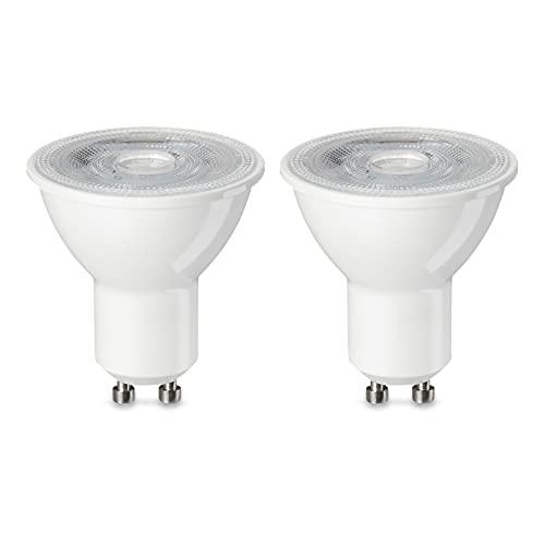Amazon Basics Lampadina LED GU10, 4.7W (equivalenti a 50W), Luce Bianca Calda- Pacco da 2