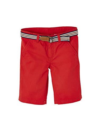 VERTBAUDET Bermudas para niño + cinturón a Rayas Rojo Oscuro Liso 6A