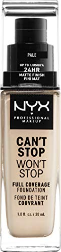 NYX Professional Makeup Base de maquillaje Can't Stop Won't Stop Full Coverage Foundation, Larga duración, Waterproof, Fórmula vegana, Acabado mate, Tono: Pale