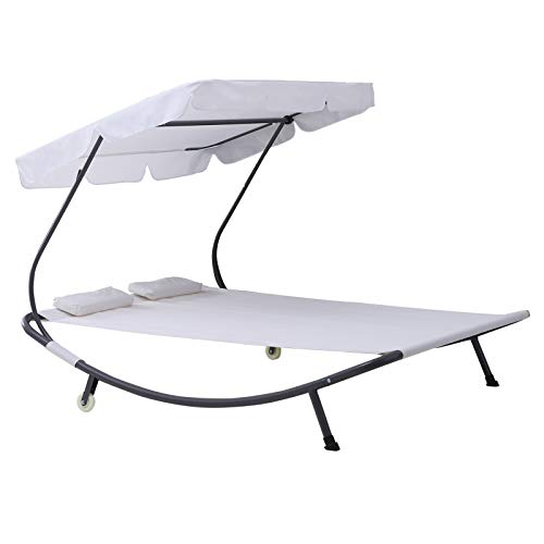 Outsunny Doppelliege Sonnenliege Relaxliege rollbar mit Dach Stahl Cremeweiß 200 x 170 x 134 cm