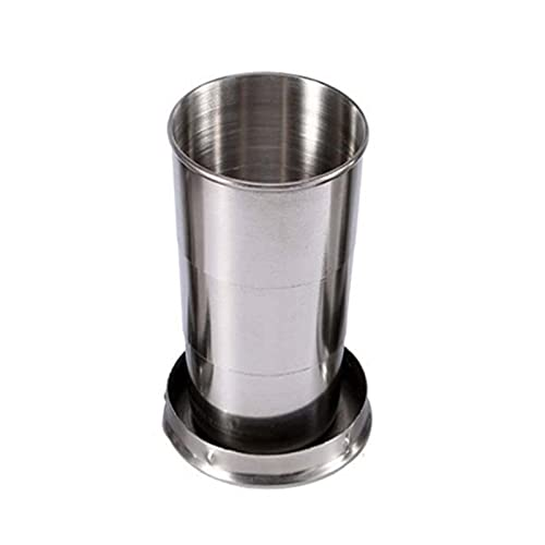 ChenHang 1pcs Portable Telescopic Folding Cup, Stainless Steel Collapsible Cup with Lid, Outdoor Travel Detachable Folding Cup with Keychain (B)
