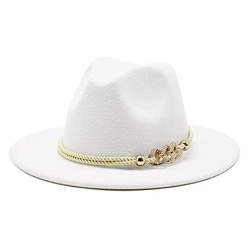 Gossifan Lady Fashion Wide Brim Felt Fedora Panama Hat with Ring Belt A-White