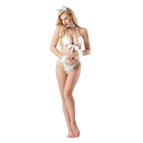 WANGIRL Mujeres Disfraz Peludo Gato Uniforme Cosplay Conjunto Vestirse con Lencería Teddy Ropa Interior Pijamas Cat Girl Blanco Ropa de Dormir