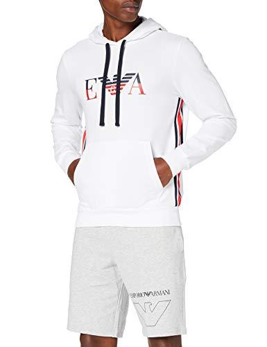 Emporio Armani Underwear Herren Homewear - Iconic Terry Sweater Sweatshirt, Weiß (Bianco 00010), X-Large (Herstellergröße:XL)
