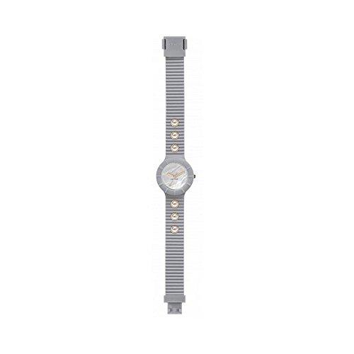Orologio HIP HOP donna PEARLS quadrante bianco e cinturino in silicone, glam grigio, movimento SOLO TEMPO - 3H QUARZO