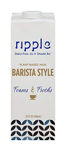 Ripple Barista Style Vegan Milk   Foams & Froths Just Like Dairy, Perfect For Coffee, Tea, Lattes & More   6g of Protein Per Serving, Plant Based, Non GMO, Dairy & Gluten Free   32 Fl Oz (Pack of 6)