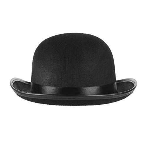 GEMVIE Sombrero de Jinete para Hombre y Mujer,Gorro de Fieltro,Color Negro,Sombrero Alto para Adultos,para otoo, para Adultos, para Fiestas, Carnaval (Negro)