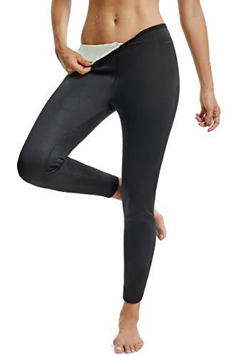 FITTOO Pantalon Sudation Femme Legging Minceur Néoprène Transpiration Sauna Amincissant Sport Gym Fitness Argenté et Noir M