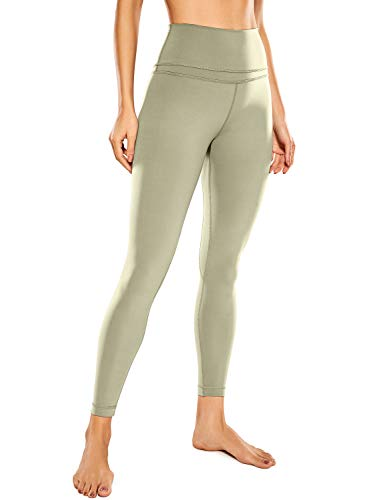 CRZ YOGA Mujer Naked Feeling Deportivos 7/8 Leggings Yoga Fitness Pantalon de Cintura Alta con Bolsillos-63cm Polvo de Carbono 38