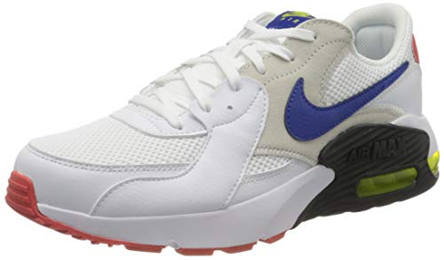 Nike Herren Air Max Excee Sneaker, White/Hyper Blue-Bright Cactus-Track Red, 44.5 EU