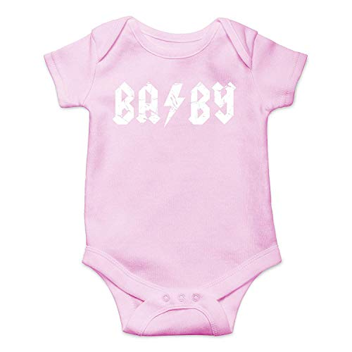 Baby Rock and Roll - ABCD Rocker Parody - Cute Infant One-Piece Baby Bodysuit Pink 12 Months