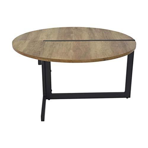 Zons salontafel, industrieel design, hout en metaal, zwart