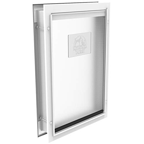 Hakuna Pets Deluxe Aluminum Large Dog & Cat Pet Door with Locking Panel for Screens, Doors & Walls up to 2.76' Thick, for Pets up to 100 lb, White