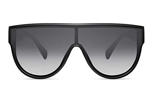Cheapass Sonnenbrillen Schwarz Übergröße XXL Flattop mit einteiligen Verlaufsgläsern UV400 Designer Zs Women