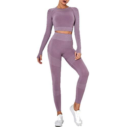 Conjunto de Ropa Fitness Deportiva para Mujer, Trajes de entrenamiento de 2 piezas sin fisuras de cintura alta elevación del extremo polainas Banda de manga larga camisas de la yoga del pulgar agujero