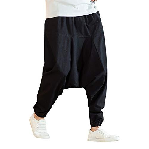 Celucke Herren Haremshose Leinenhose Pluderhose Hippie Kleidung Pumphose Männer Yoga Hose Aladinhose Freizeithose Sommerhose Leichte Atmungsaktives Bequem (Schwarz, M)
