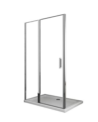 Laneri Duschtür mit festem Glas und Flügeltür, Anti-Kalk, 117 - 120 cm