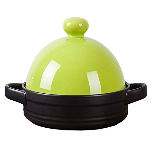 Slow Cooker Auflauf Kochtopf mit Deckel Home Küche 11.2 Kochgeschirr 1.5 L Tagin Ton Cookings Slow Cooker Geeignet for offenste Flamme Kochgeschirr for verschiedene Kochstile ( Color : Grass Green )