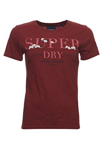 Superdry Damen Serif T-Shirt mit Blumenstickerei Rosenholz Genoppt 42