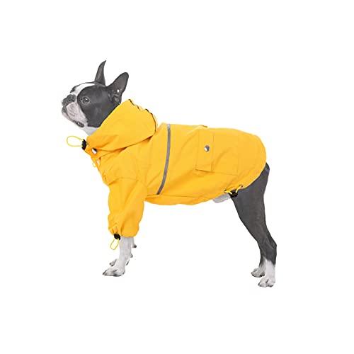 PUMYPOREITY Hunderegenmantel Wasserdichter Hundemantel mit Abnehmbare Kapuze Hunderegenjacke Regencape Hundejacke Regen Poncho mit Reflektierender Streifen für kleine mittelgroße Hunde(XL)