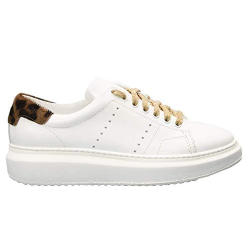 Zapatos de mujer bajos BUBKA Pony Sneakers Deportivos Stan Gimnasia de piel blanca moteada Shoes Comfort Calzado Cómodo Tiempo libre Casual Smith Blanco Size: 38 EU