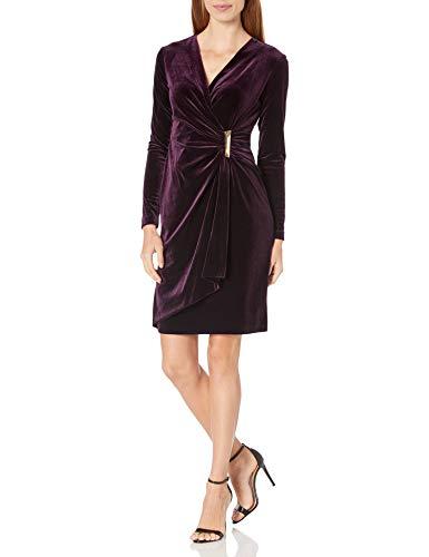 Calvin Klein Women's Velvet Long Sleeve Faux Wrap Dress, Aubergine 2, 6