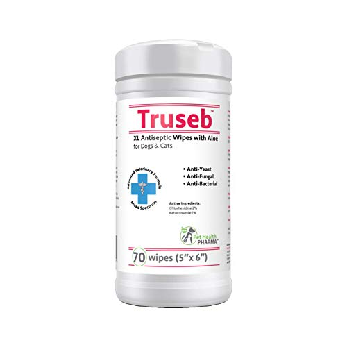 Truseb | #1 Chlorhexidine Wipes with Ketoconazole and Aloe for Dogs, Cats and Horses, Medicated 70 XL Wipes for Hot Spots Itchy Paws Skin Rashes Dermatitis Ringworm Acne, & Other Skin Conditions